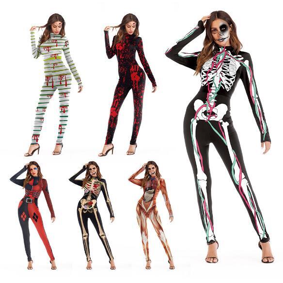Skull Skeleton Jumpsuit Catsuit Sexy Cosplay Costumes Halloween Women Bodysuit Fancy Dress