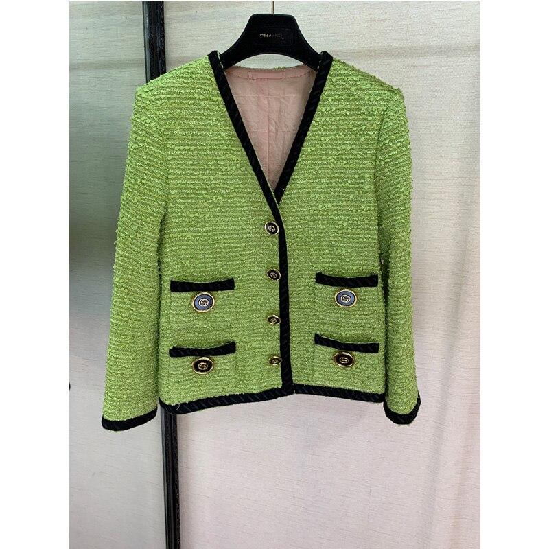 GG High-End Custom-Made Garments Green Long-Sleeved Round Collar Women's Coat Fashion Runway Style