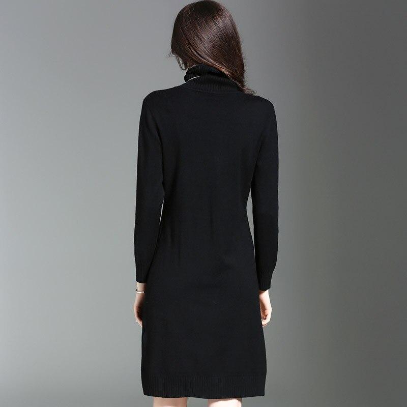 Longues Féminine Roulé Mince Mode Robe Nouveau Chandail Marque Corps Europe À Femmes Automne Manches noir Hiver De 2018 Élastique Noir Col Beige FYYqzZw7