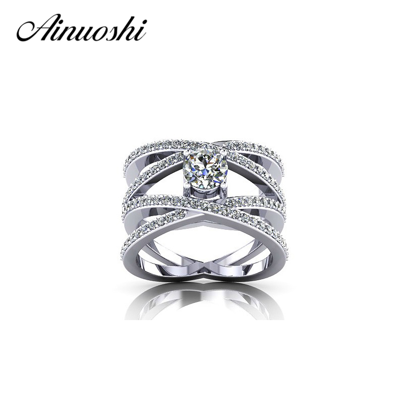 AINOUSHI Fashion Twist drill Engagement Ring Authentic 925 Sterling Silver Anelli Donna Hot Women Bridal Jewelry Free Shipping hot sell new free shipping 925 sterling silver soldier boluomiduo theheart sutra scripture ring mens