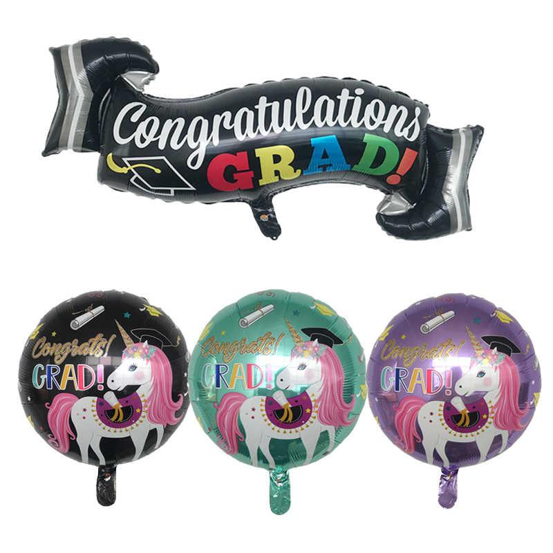 1pcs 94*37cm Eenhoorn Afstuderen Banner Ballonnen Graduation Ceremony Eenhoorn Partij Decoratie kinderen globos ballon lucht ballen