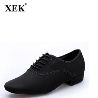 XEK Men's Latin Ballroom Dance Shoes size plus Black Canvas Salsa Shoes Plus Size Low Heel Tango Ballroom Dance Shoes GSS09