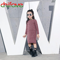 chifave 2016 New Design Children Clothes 0-neck Collar Long Slit Girls Sweater Cotton Kids Girls Knit Pullover Sweater 3 Colors
