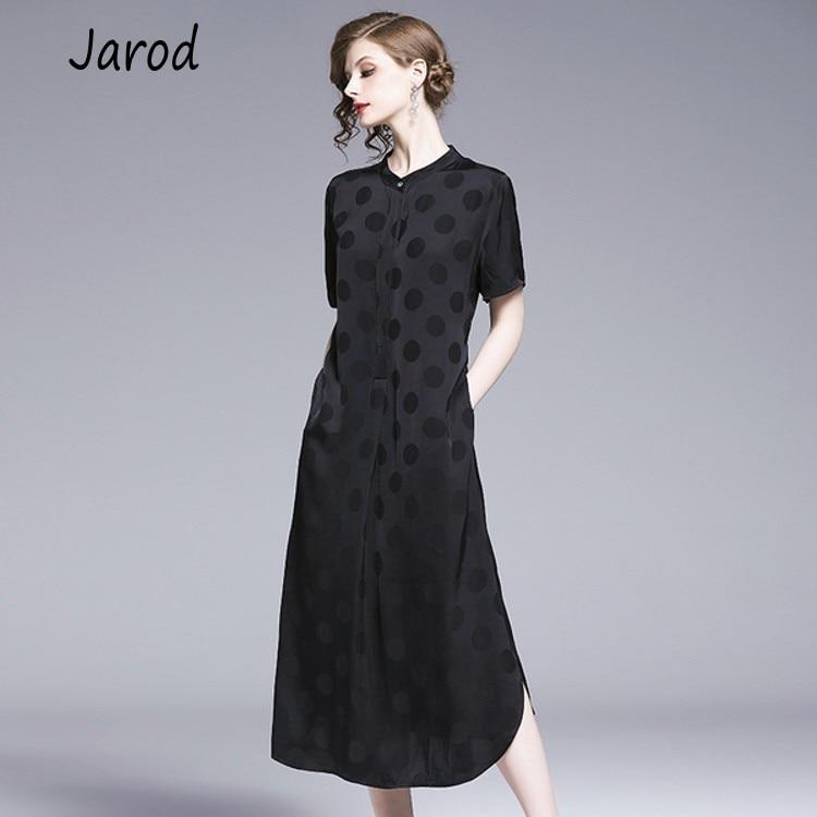 2019 Women s Runway Designer 100 Silk Dresses Sexy Black Short Sleeves casual loose Elegant Dresses