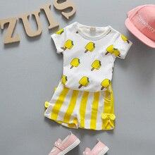 Летний комплект одежды для маленьких девочек футболки с изображением мороженого+ шорты из-го хлопка спортивный костюм из 2 предметов для маленьких девочек комплект одежды для маленьких девочек
