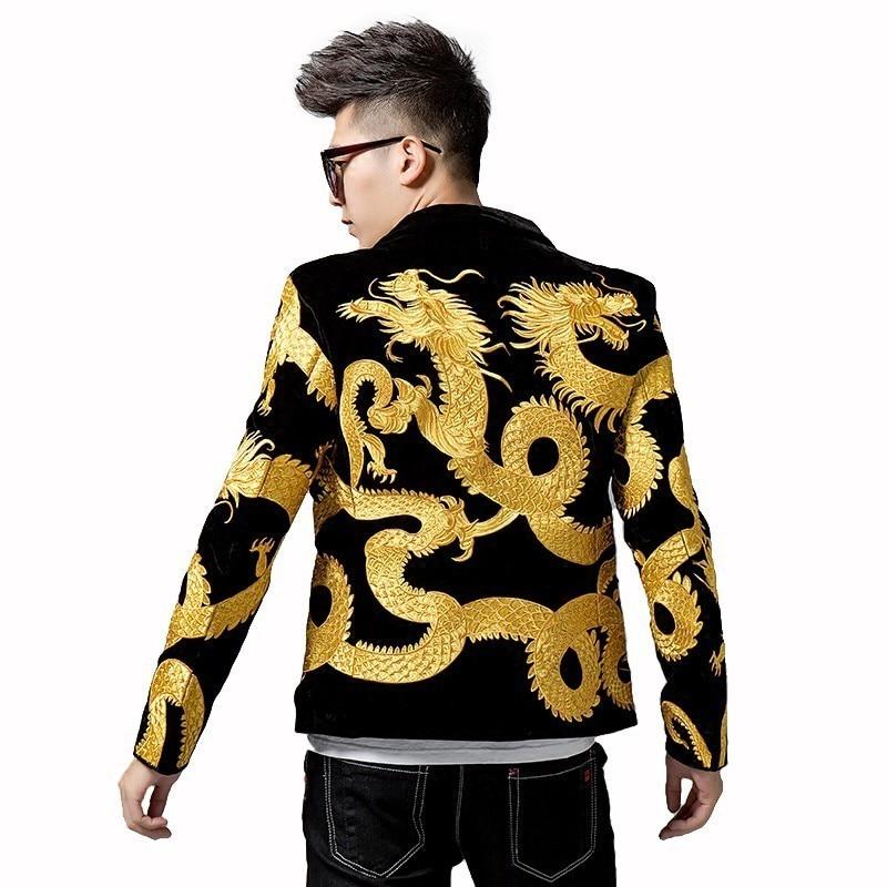 Heavy Imperial Embroidery Men Suit Blazer Masculino Night Mens Slim Fit Blazer Jacket Chinese Style Dragon Embroidery Blazer Men