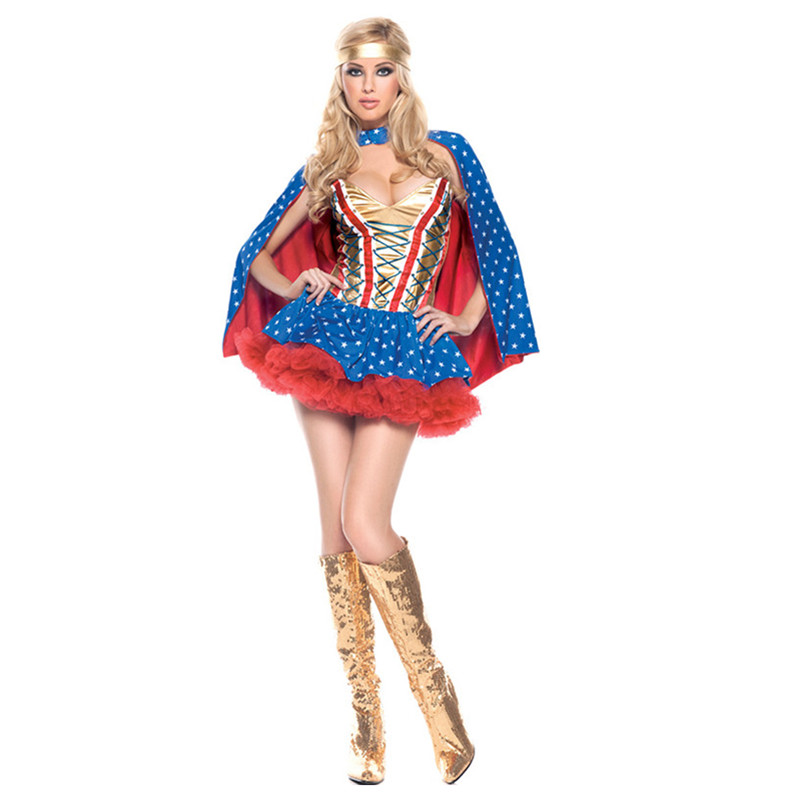 Sweet Heart Cosplay Supergirl Costume for Halloween Costume Superwoman Outfit Role Playing Female Superhero Fancy Tutu Dress
