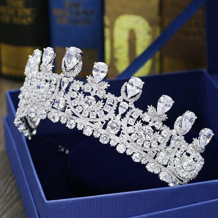 HIBRIDE Luxury New Pageant Headband  Tiaras AAA Cubic Zircon Women Hair Accessories For Wedding Gifts C-30