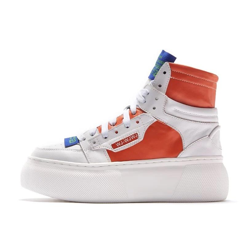 Plate Femmes Haute Cool Sneaker Top Punk Dame Sneakers Plates forme Véritable En Ugi Chaussures Confort Rue Orange Cuir Appartements blanc Pour Respirant BdPFqv8