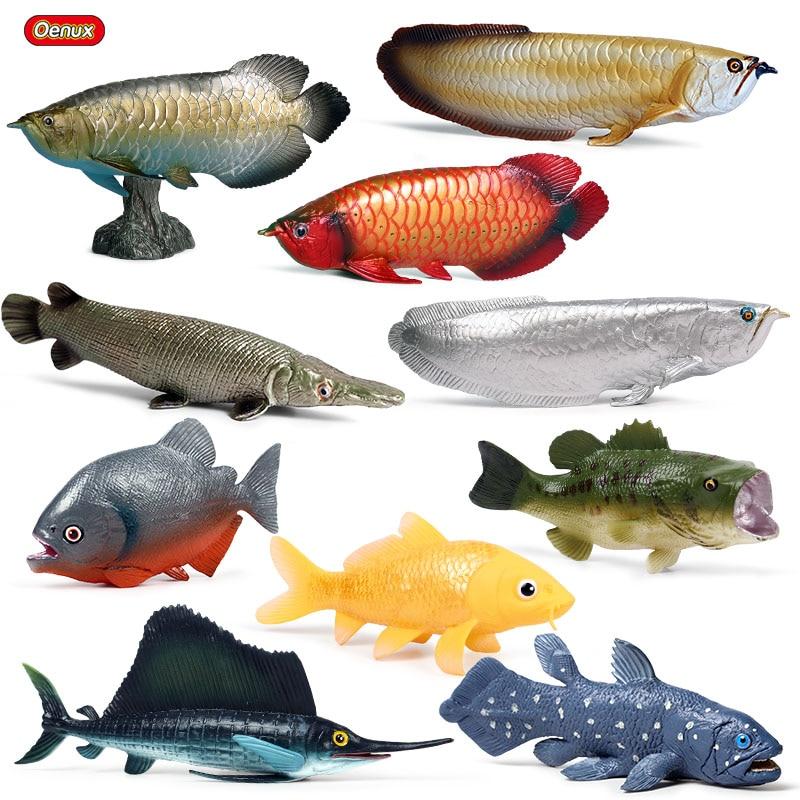 Oenux Ocean Fish Animals Model Simulation SeaLife Coelacanth Sailfish Action Figures PVC Aquarium Lifelike Educational Kids Toys