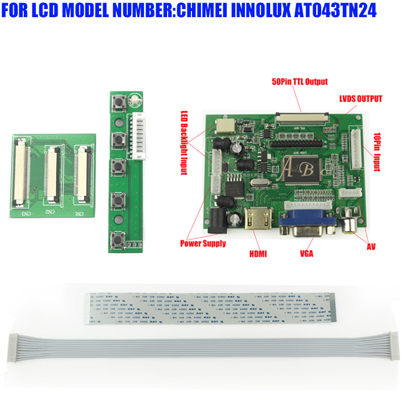 Demo Board & Accessories Hdmi Vga 2av 50pin Ttl Monitor Controller Board For Raspberry Pi For Chimei Innolux At043tn24 4.3 480x272 Tft Lcd Display Panel Back To Search Resultscomputer & Office