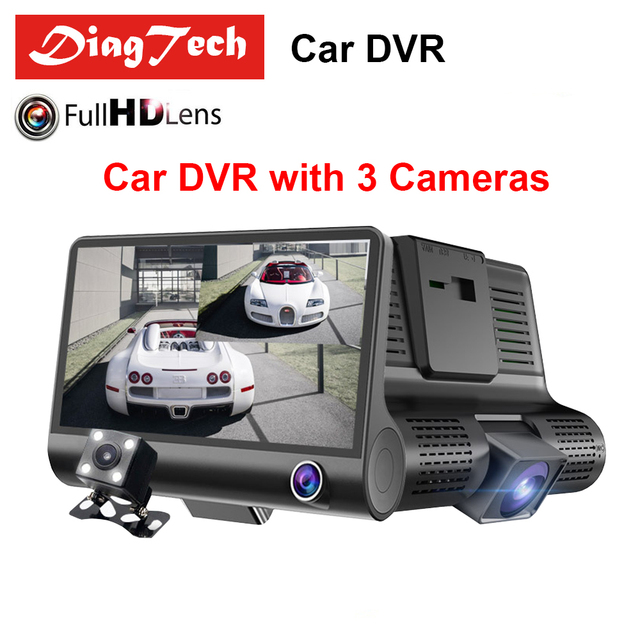 Gryan Car DVR Car Rearview Mirror 170 Degree 3 Lens 1080P Full HD Full Video Registrator Recorder Camera Night Vision Dash Cam