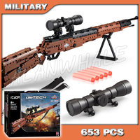 653PCS Model Toy Gun Series KAR98K Mauser Shot Gun PUBG Weapon For Military Assault Plastic Bullet Soldier Compitable with Lego