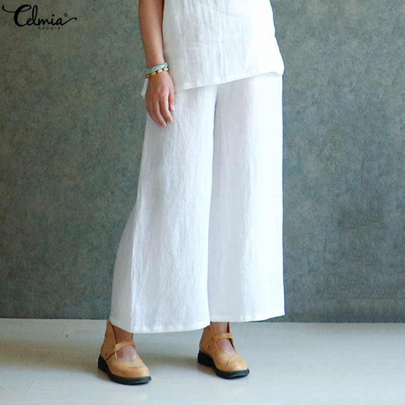 Women White   Pants   Celmia 2019 Summer Vintage Elastic Waist   Wide     Leg     Pant   Loose Solid Casual Long Trousers Plus Size Pantalon 5XL