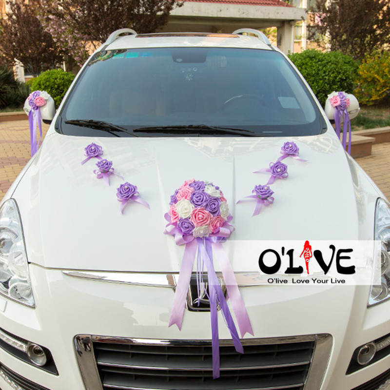 Wedding car decoration set flowers artificial sucker foam roses wedding car decoration set flowers artificial sucker foam roses decorative flowers wedding wreath diy customized wholesale in artificial dried flowers junglespirit Image collections