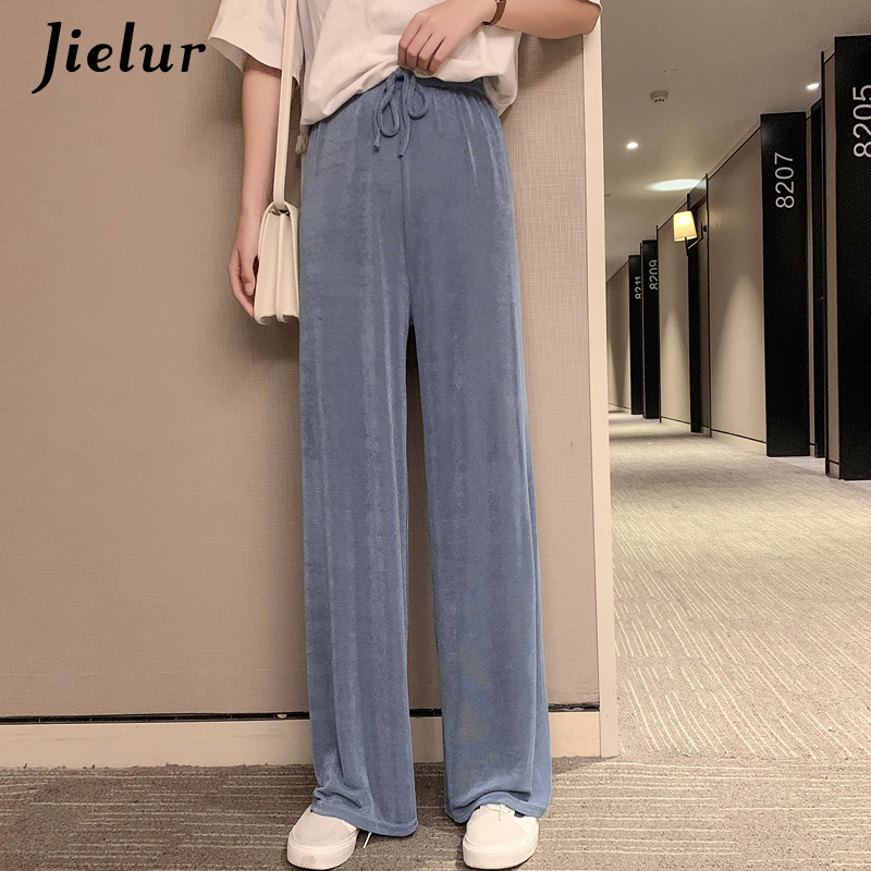 Jielur Women High Waist Pants Summer Ice Silk Knitted Straight Trousers 2019 Loose Casual Long Wide Leg Soild Color Pants Femme