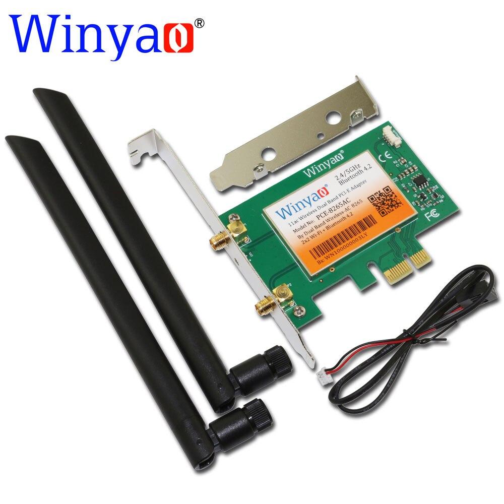 Winyao pce-8265ac bureau double bande 867 mbps 802.11ac 8265ngw sans fil pci-e wifi bluetooth bt 4.2 carte pci express 6dbi antenne