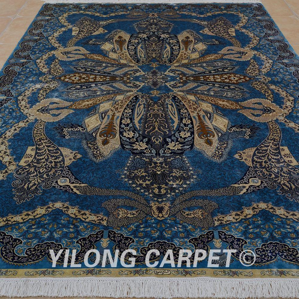 Yilong 6.56'x9.84 'hurtownia orientalny dywan niebieski iran qum - Tekstylia do domu - Zdjęcie 3