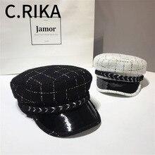 Зимние винтажные высококачественные твидовые клетчатые шапки с пуговицами для женщин, военная шапка Gorras Planas Snapback, женские кепки Casquette
