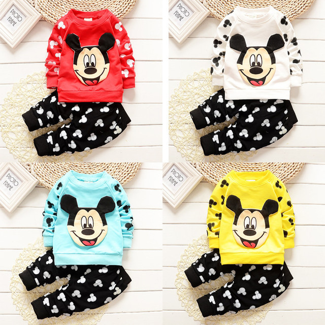 winter Kids Clothes Sets long Sleeve Mickey Boy T-shirt Pants Suit Clothing Set Newborn Sport Suits Children Baby Boy Clothes