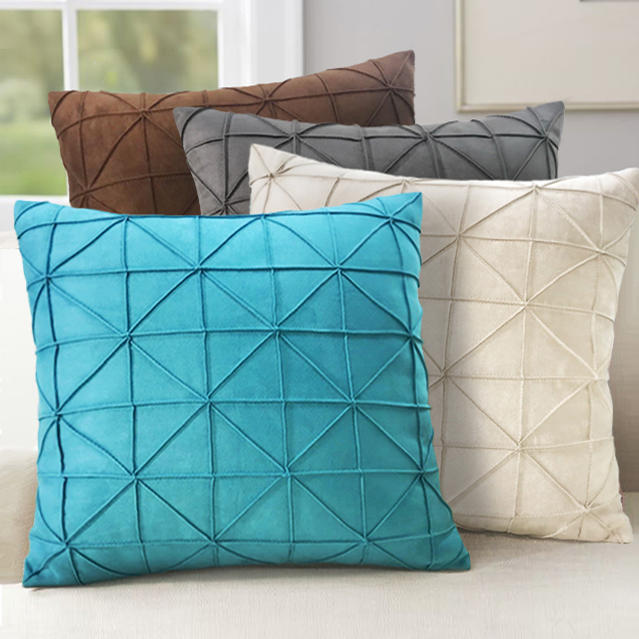 Us 15 66 13 Off 45x45cm Milky White Brown Blue Grey Grid Pleated Suede Cushion Cover Sofa Lumbar Pillow Decorative Throw Pillowcase In