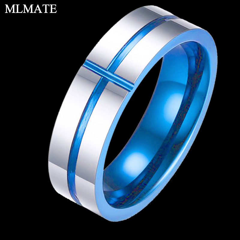Aggressive Silver Blue Colour Tungsten Carbide Ring For Men Women Matte Finished Wedding Bands Cross Groove Rings Jewelry With A Long Standing Reputation