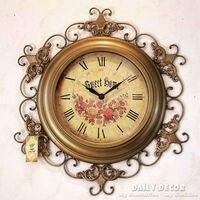 63 см Mute Relogio де Parede старинные Металл Роскошные Античная время настенные часы декоративные большой старый настенные часы Reloj де сравнению