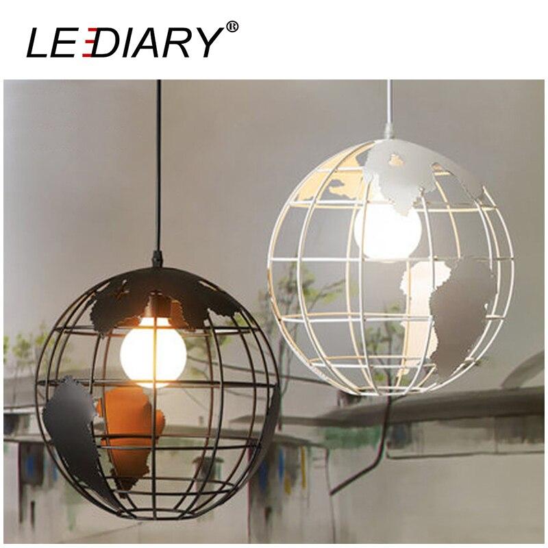LEDIARY Earth Shape Iron LED Pendant Lamp 30CM 85-220V E27 Holder Art Hanging Lamp Droplight Vintage Light Dimmable Restaurant bprd hell on earth v 7