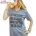 Camisa cinza T Mulheres Estressado Abençoado E Café Obcecado Impresso Engraçado Graphic Tees Mulheres T-Shirt de Manga Curta Casual Tops Senhoras