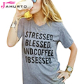 Gray T Shirt Women Stressed Blessed And Coffee Obsessed Printed Funny Graphic Tees Women Short Sleeve T-Shirt Casual Ladies Tops