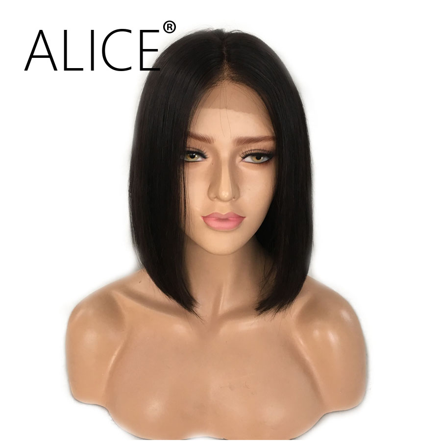 ALICE Short Bob Lace Front Wigs With Baby Hair 8-16 Inch Silky Straight Brazilian Remy Hair Wigs For Black Women Bleached Knots