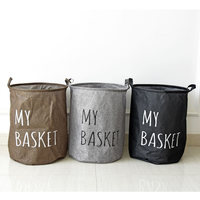 Foldable Dirty Clothes Laundry Baskte Cylinder Sundries Barrel Storage Bag Kids Toy Organizer Home Decor Free