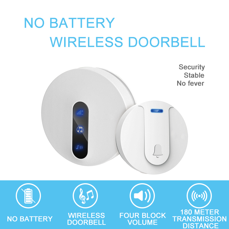 Self generating wireless doorbell household 4 Volume Volume Sliding tone 180 meter strong penetration IP44 waterproof No battery