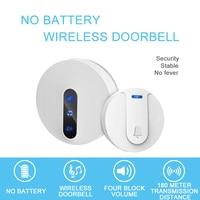 Self Generating Wireless Doorbell Household 4 Volume Volume Sliding Tone 180 Meter Strong Penetration IP44 Waterproof