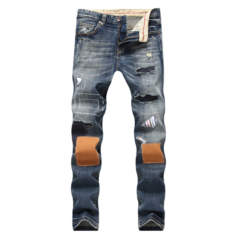 MORUANCLE New Fashion Mens Ripped Patchwork Jeans Pants Distressed Straight Denim Trousers With Patches For Man Washed