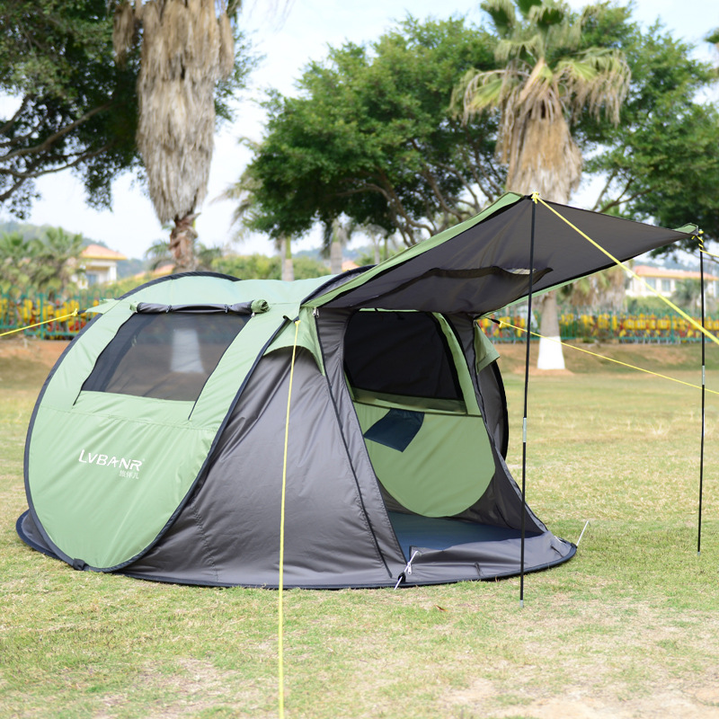 Outdoor camping tents 2-3 quick-opening rain proof double automatic tent camping outfit rain proof double layer camping tent for outdoor activities green