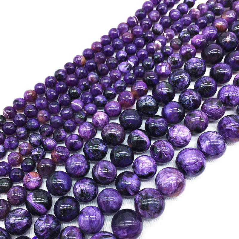 Beadztalk Russian Charoite 8 mm 10 mm 100% Natural  19cm/strand Smooth Round Beads Gem Stone for jewelry DIY Making