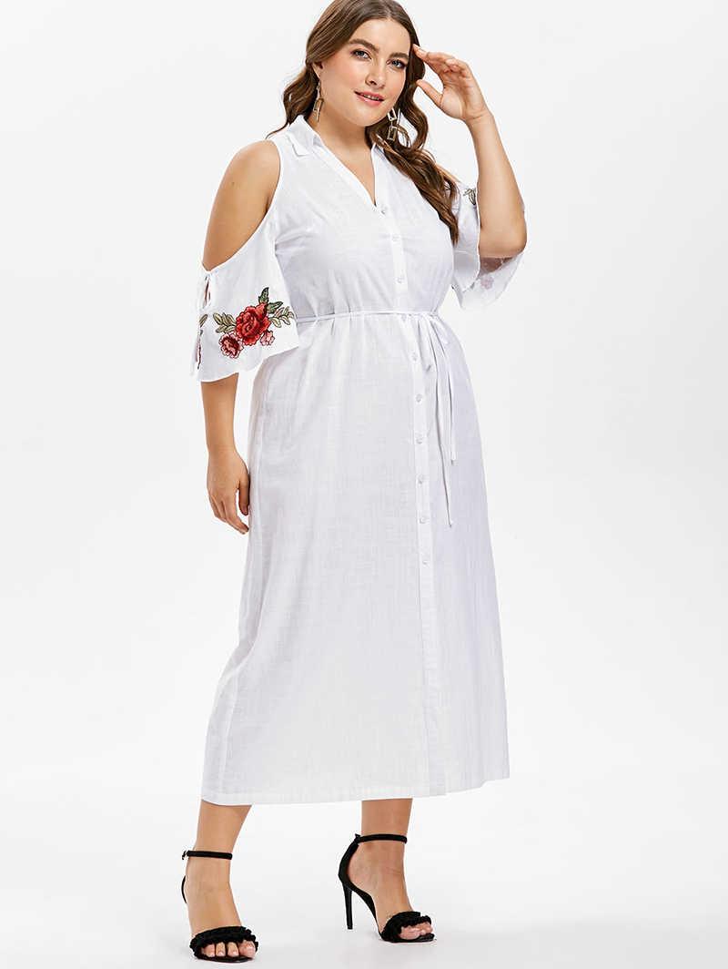 f1dd06334a PlusMiss Plus Size 5XL XXXXL XXXL Cold Shoulder White Maxi Long Shirt Dress  Women Floral Embroidery Loose Party Dresses Big Size