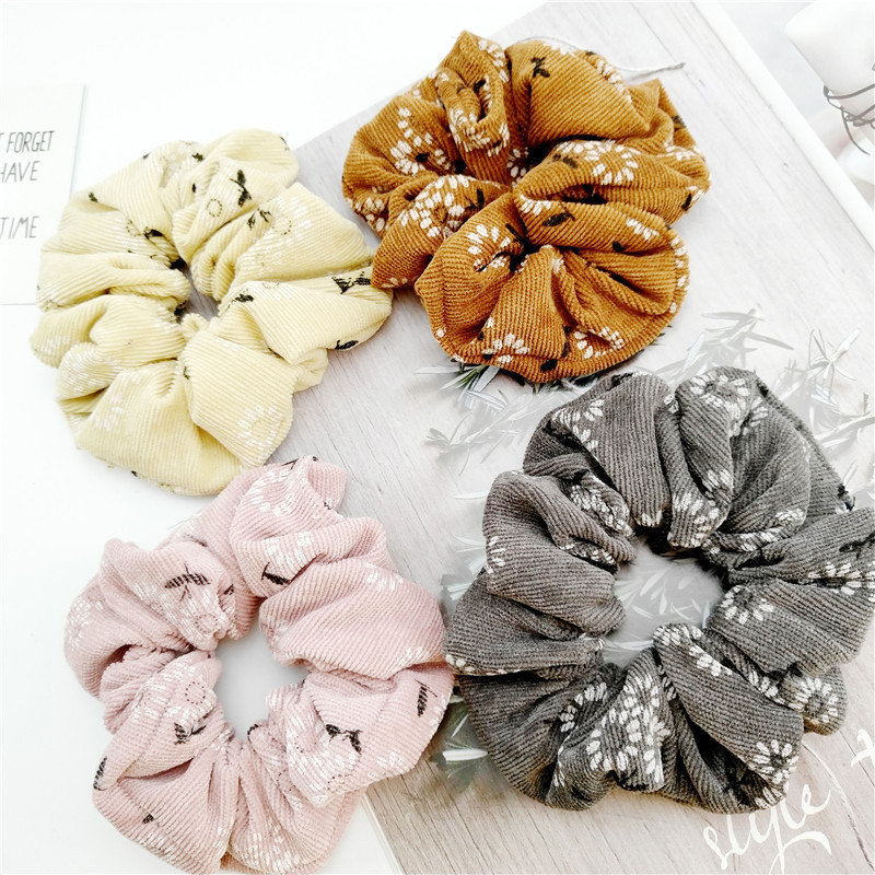 New Arrival Fashion Women Lovely Big Corduroy Hair Bands Floral Hair Scrunchies Girl's Hair Tie  Accessories Ponytail Holder