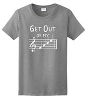 Create Shirts Crew Neck Get Out Of My Face Musical Notes Women Short Sleeve Office Tee