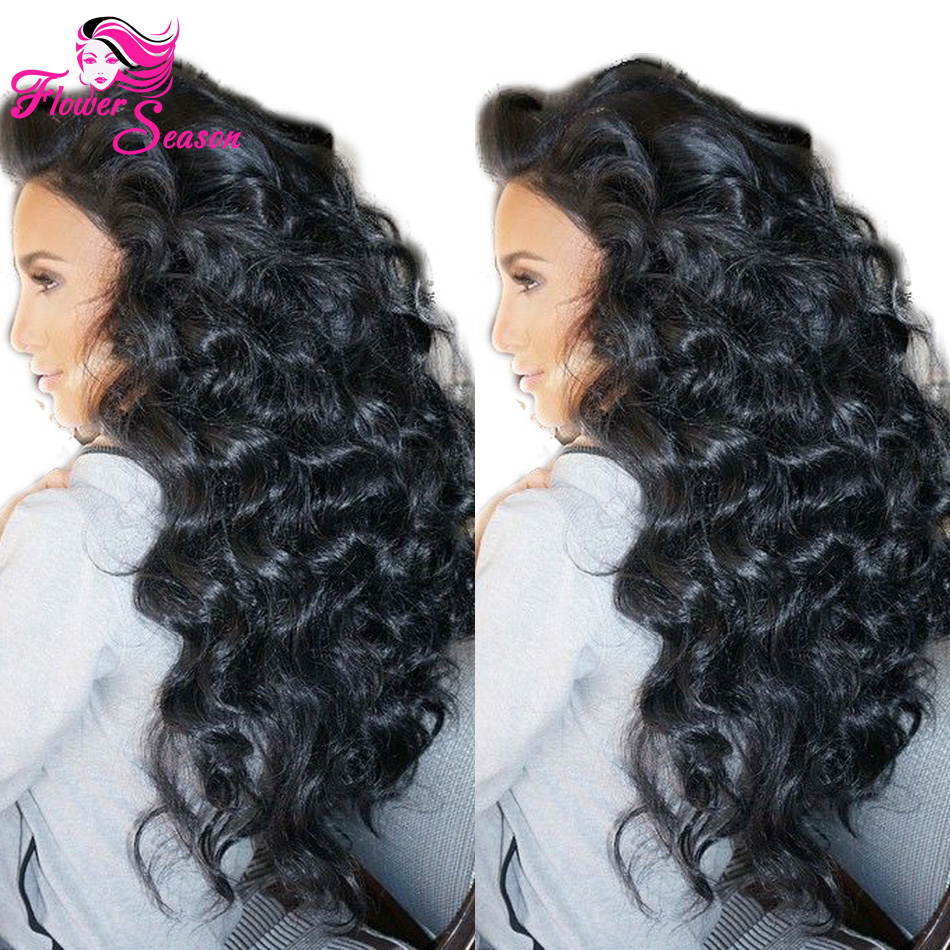 New 180 Density Virgin Brazilian Wavy Silk Top Lace Wigs