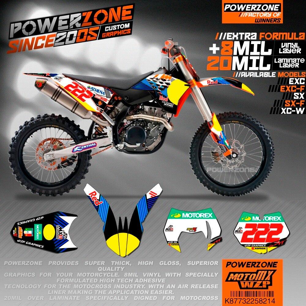 Equipe de Gráficos Fundos Decalques Adesivos Personalizados R222 PowerZone Estilo Para KTM SX SXF EXC XCF K87732258214 Sixdays 125 A 530cc