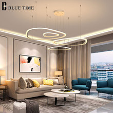 White Acrylic Modern LED Chandelier For Living Room Dining room Kitchen Hanglamp Rings LED Ceiling Chandelier Lighting Fixtures