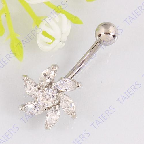 34f540431d7a Anillo del ombligo flor hermosa joyería piercing del cuerpo del ombligo del  vientre al por menor anillo 14g 316L barra de acero quirúrgico sin níquel  envío ...