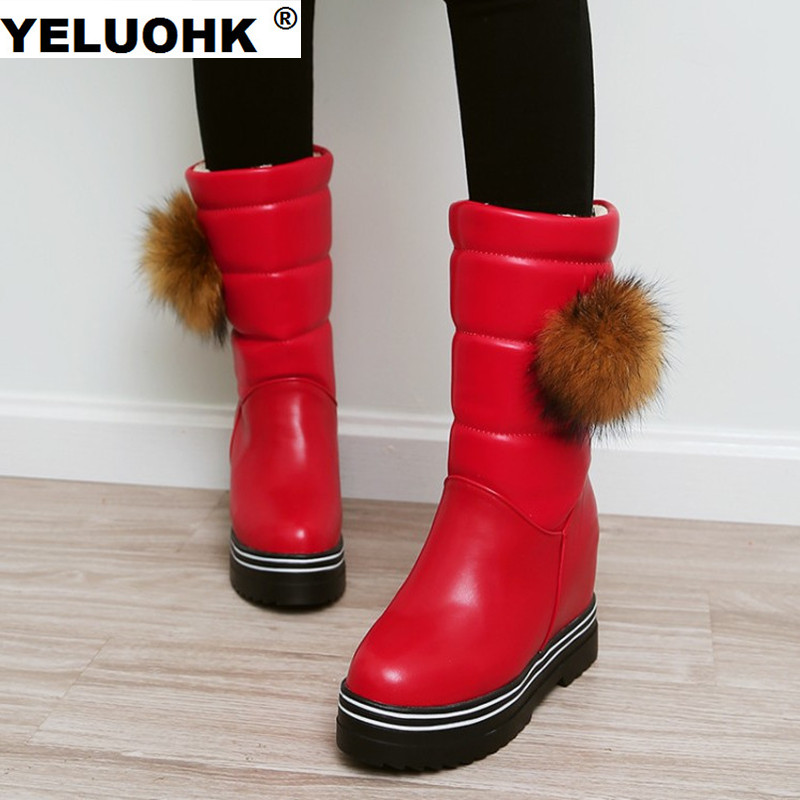 Large Size 43 Women Snow Boots Female Winter Shoes Warm Mid Calf Boots Women Plush Fur Shoes For Woman Winter Women Boots