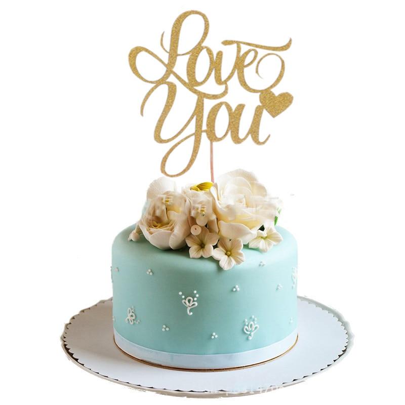 1 Pcs Ouro Prata Te Amo Queque DIY Bolo Topper Bandeira da Festa de Aniversário de Casamento Dia Dos Namorados Glitter Decoração Topper suprimentos