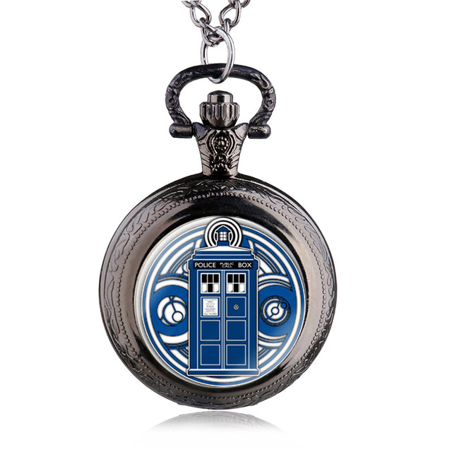 Movie Theme Doctor Who Police Box Dome Quartz Pocket Watch Pendant Necklace Mens