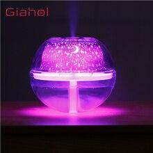 Giahol 500 мл USB с украшением в виде кристаллов увлажнитель воздуха с ночной подсветкой с красочными светодиодный свет супер беззвучный арома-распылитель для дома тумана