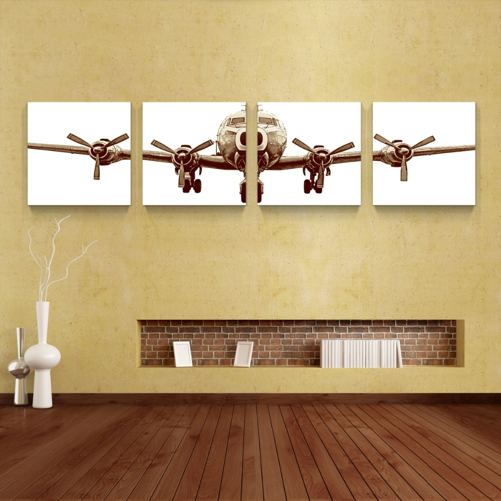 4 panels airplane canvas painting quadro home decor for Home decor wall hanging