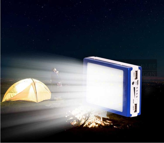 EIKE Solar Panel Power Bank Dual USB Waterproof PowerBank Portable Charger External Battery Power+ LED Light